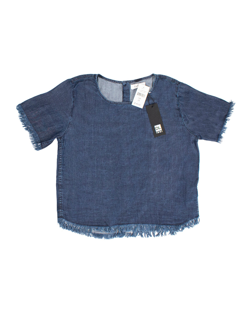 Yieldings Discount Clothing Store's Keira - Short Sleeve Tee by DL1961 in Dark Rinse W Fringe Hem