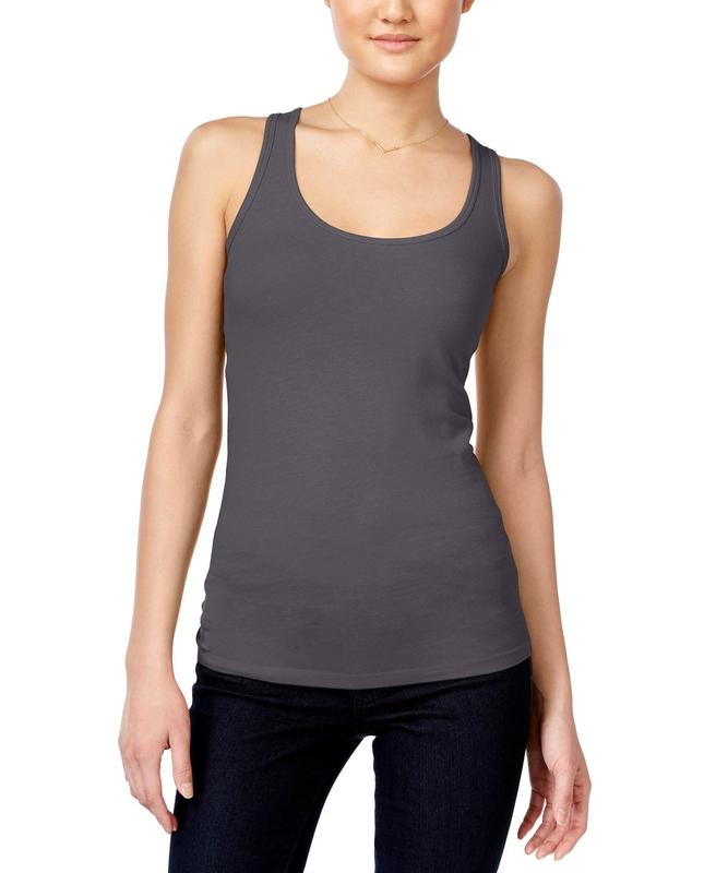 Yieldings Discount Clothing Store's Racerback Tank Top by Planet Gold in Charcoal