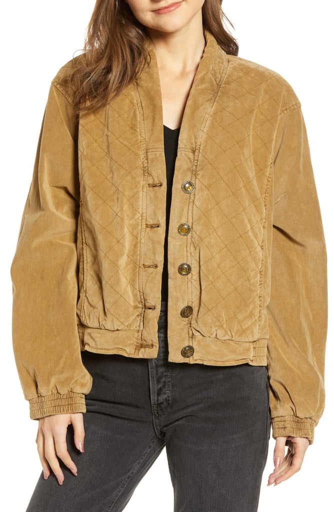 Yieldings Discount Clothing Store's Main Squeeze Quilted Jacket by Free People in Gold