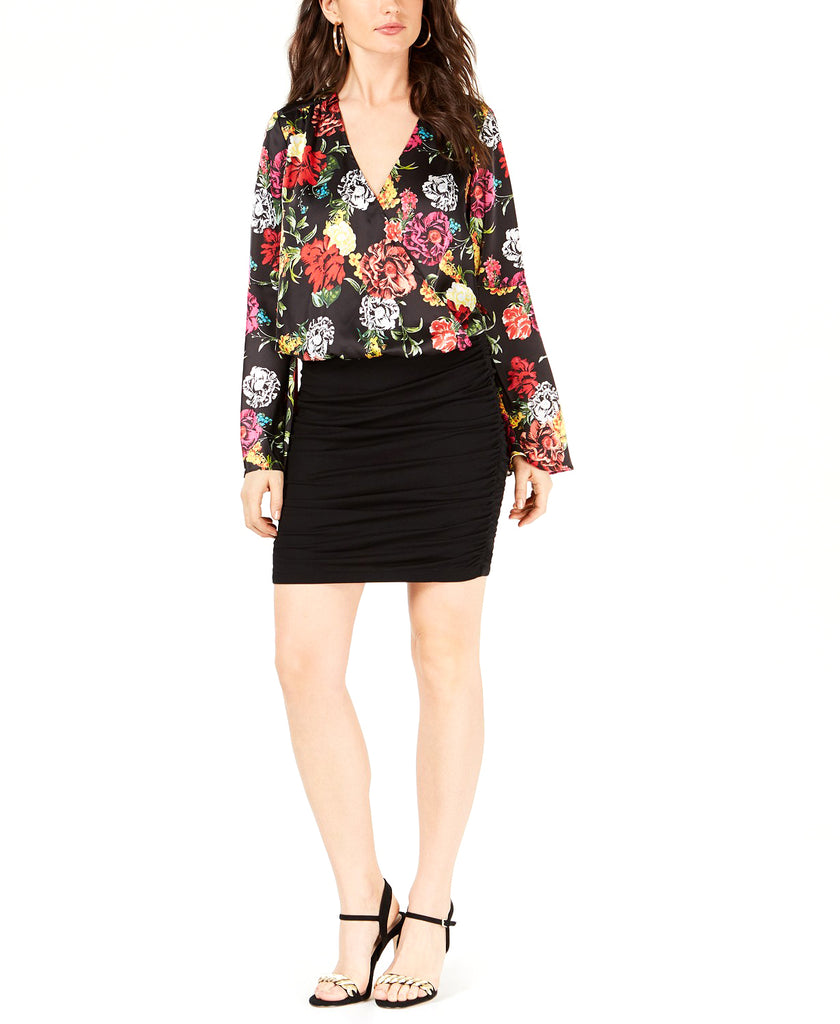 Yieldings Discount Clothing Store's Surplice Bell-Sleeve Top by Guess in Room of Blooms