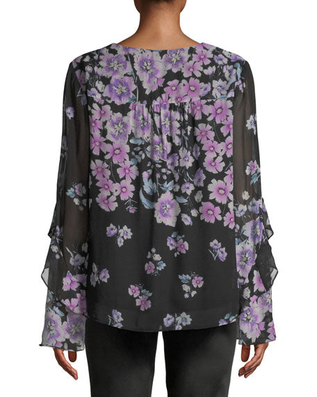 Yieldings Discount Clothing Store's Zen Floral-Print Silk Blouse by Nanette Lepore in Black Multi