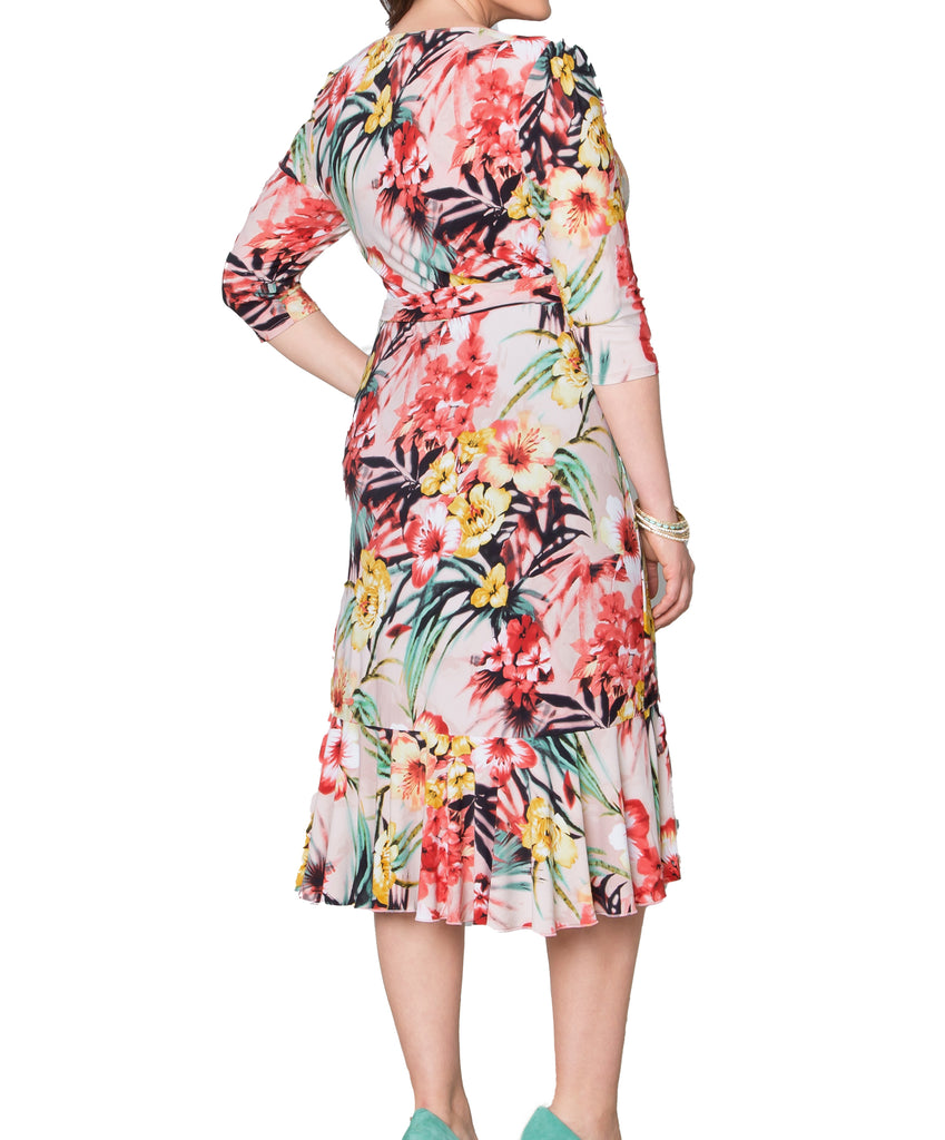 Yieldings Discount Clothing Store's Flirty Flounce Wrap Dress by Kiyonna in STP
