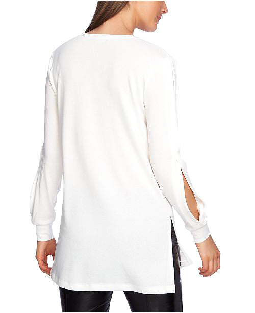 Yieldings Discount Clothing Store's Cozy Split-Sleeve V-Neck Top by 1.State in SoftEcru