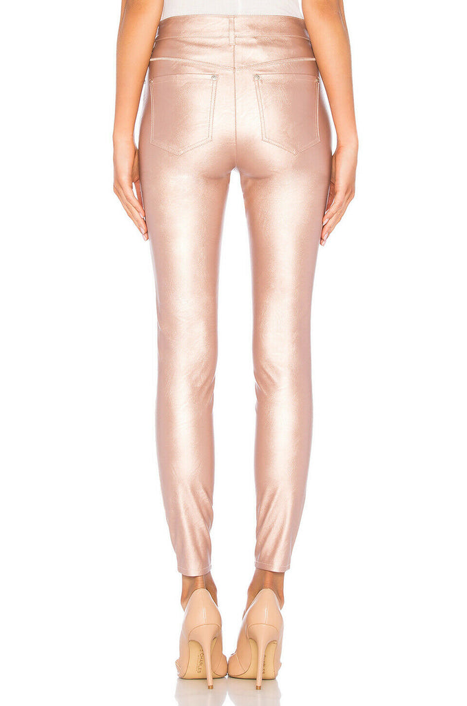 Yieldings Discount Clothing Store's Metallic Faux Leather Pants by Free People in Rose