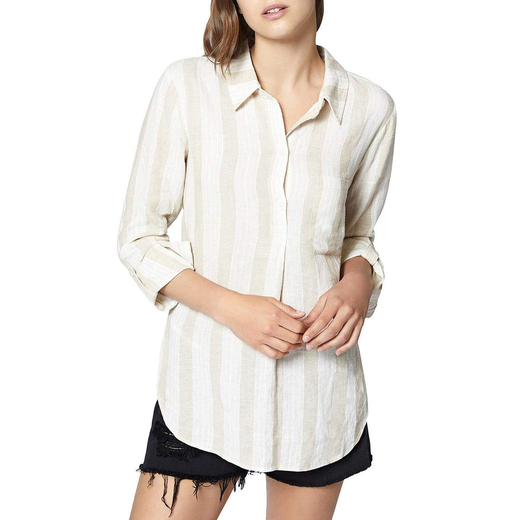 Yieldings Discount Clothing Store's Milo Linen Striped Tunic Top by Sanctuary in Beige