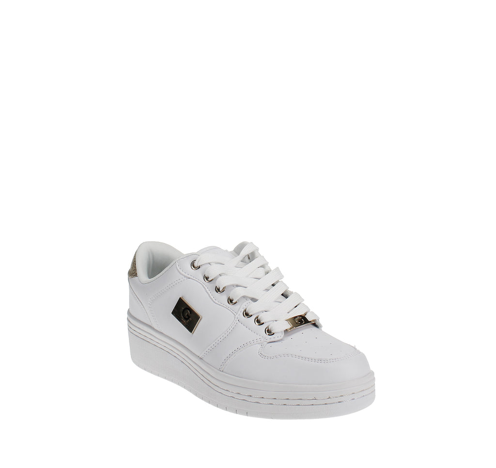 Yieldings Discount Shoes Store's Rigster 5 Wedge Sneakers by G By Guess in White