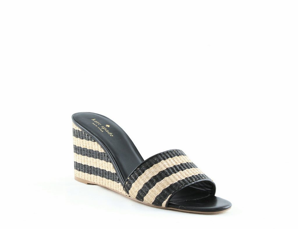 Yieldings Discount Shoes Store's Linda Striped Wedge Sandals by Kate Spade in Natural/Black