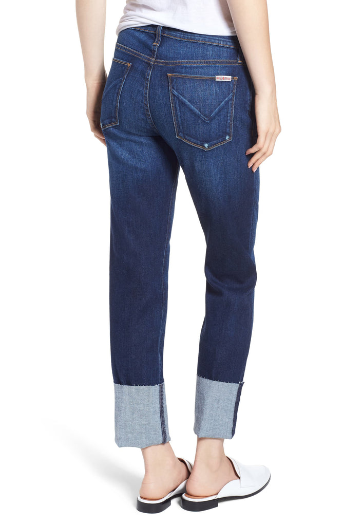 Yieldings Discount Clothing Store's Deep Cuff Cropped Jeans by Hudson in Navy