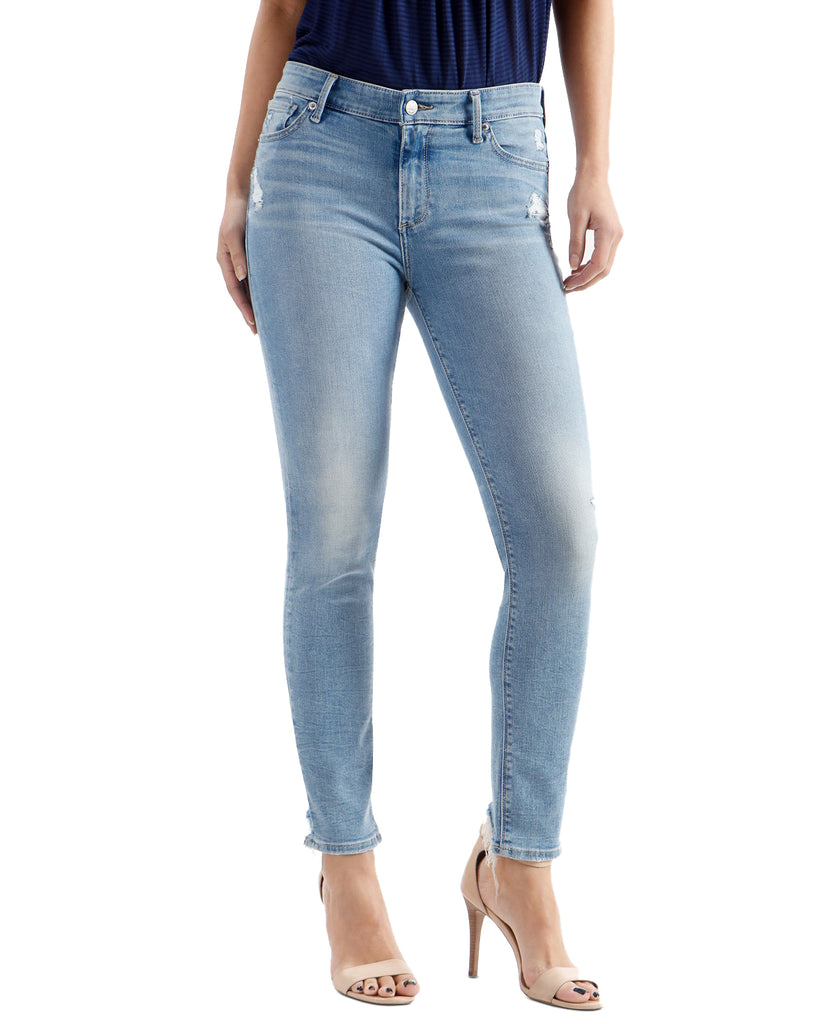 Yieldings Discount Clothing Store's Ava Frayed-Hem Skinny Mid Rise Jeans by Lucky Brand in Turquoise