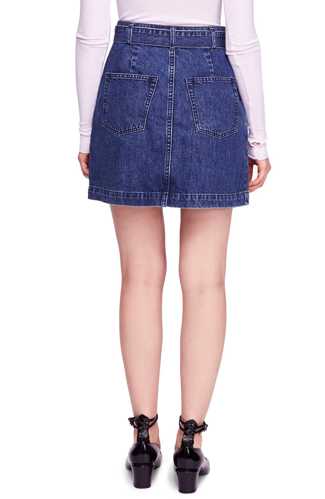 Yieldings Discount Clothing Store's Jade Belted Denim Skirt by Free People in Mid Indigo Wash