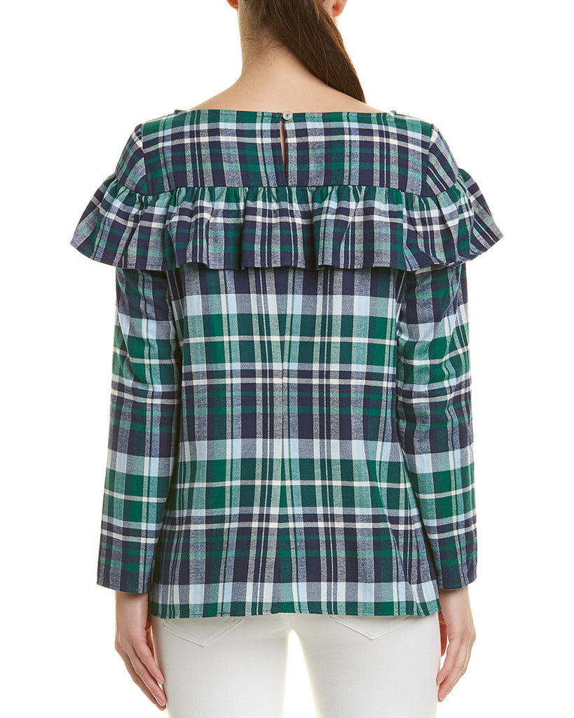 Yieldings Discount Clothing Store's Plaid Flannel Ruffle Top by Sail To Sable in Navy Multi