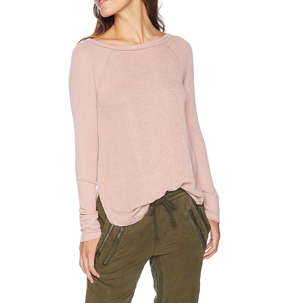 Yieldings Discount Clothing Store's Rib Mix Dolman Thermal Sweater by Lucky Brand in Blush