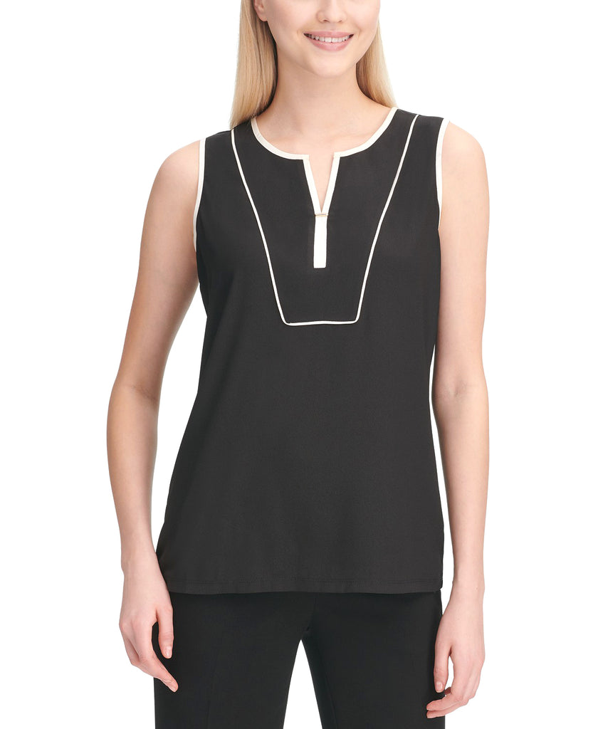Yieldings Discount Clothing Store's Sleeveless Piping-Trim Top by Calvin Klein in Black