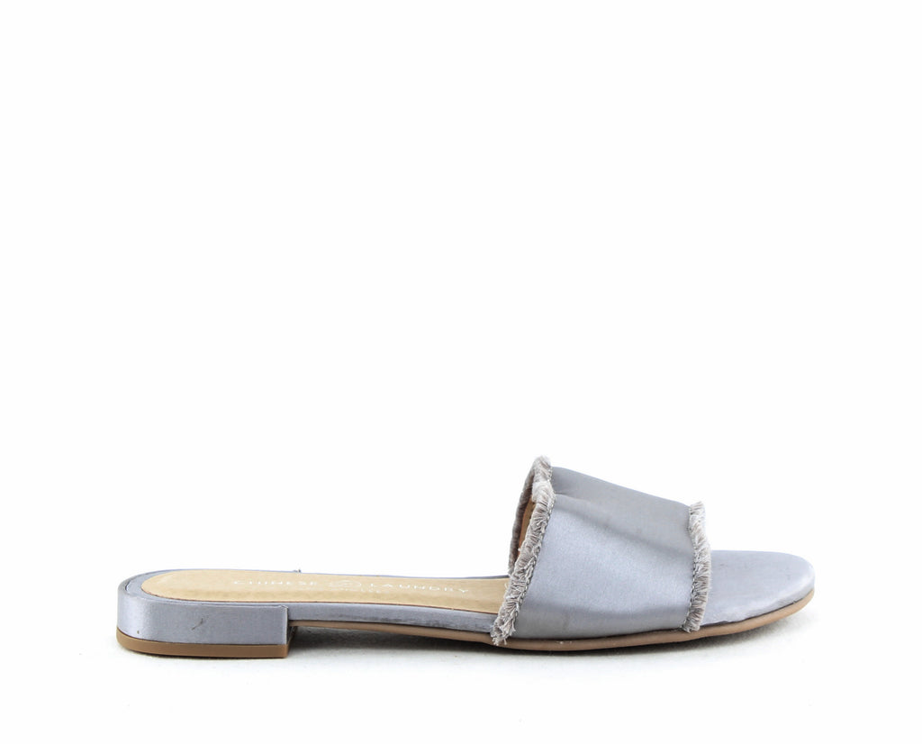 Yieldings Discount Shoes Store's Pretty Slip-on Flat Sandals by Chinese Laundry in Silver