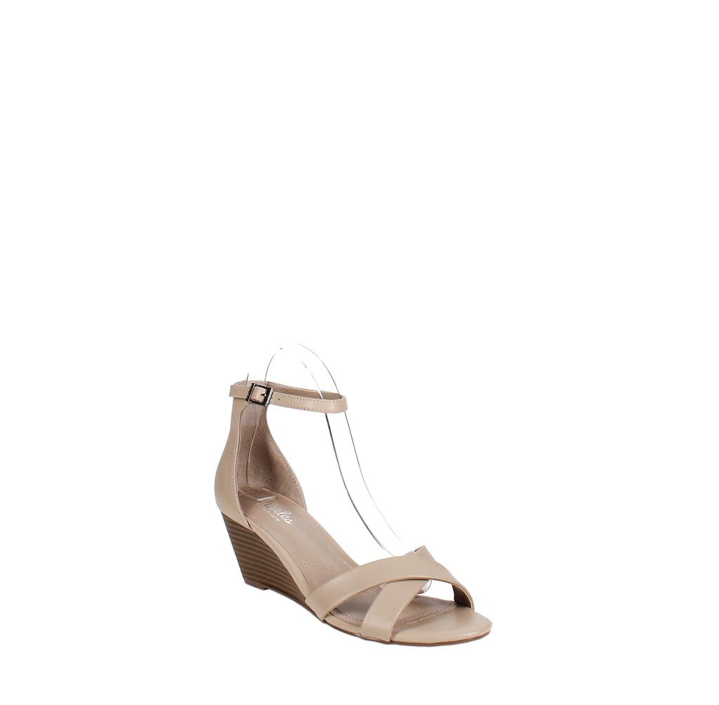 Yieldings Discount Shoes Store's Griffin Wedge Sandals by Charles By Charles David in Nude-Smooth
