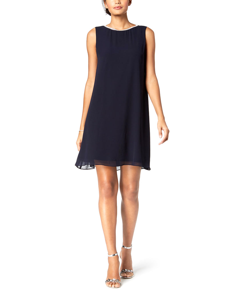Yieldings Discount Clothing Store's Embellished T-Back Dress by MSK in Navy Silver