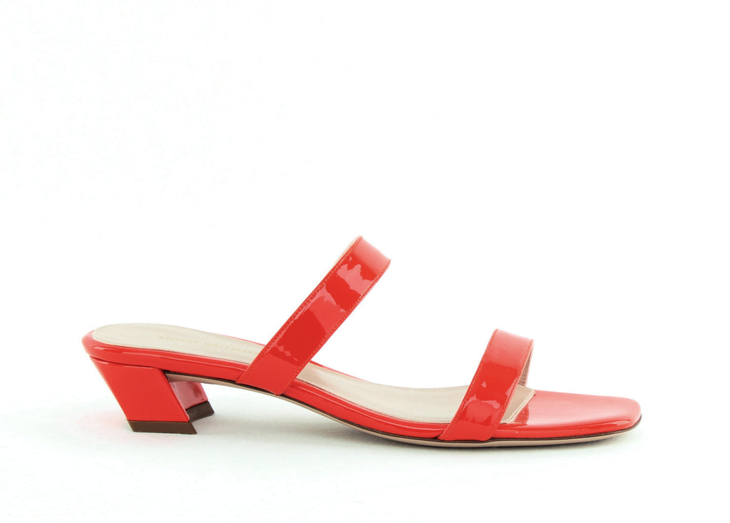 Yieldings Discount Shoes Store's Ava Block Heel Sandals by Stuart Weitzman in Paprika Gloss