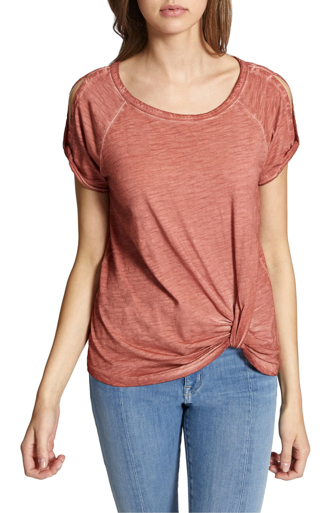 Yieldings Discount Clothing Store's Adrienne Twist Tee by Sanctuary in Pink