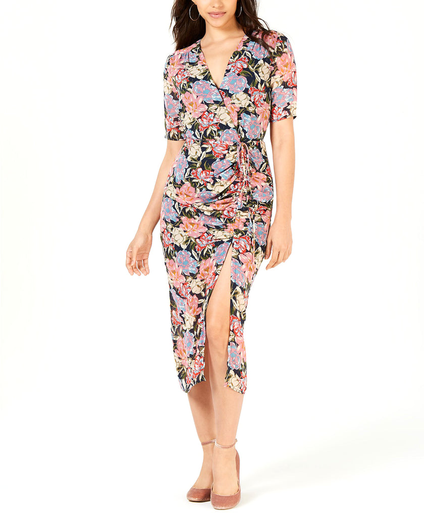 Yieldings Discount Clothing Store's Printed Ruched Midi Dress by Leyden in Navy Floral