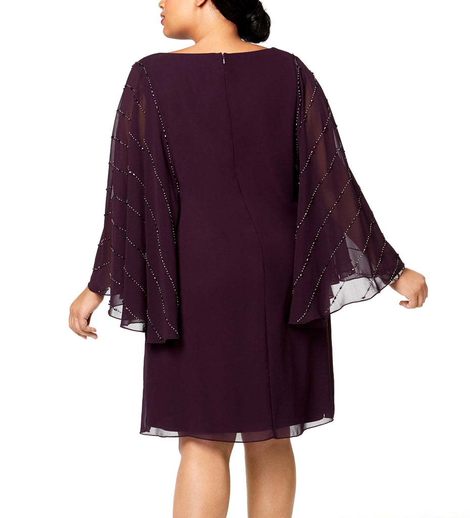 Yieldings Discount Clothing Store's Embellished Sleeve V Neck Above The Knee Shift Party Dress by Betsy & Adam in Ruby