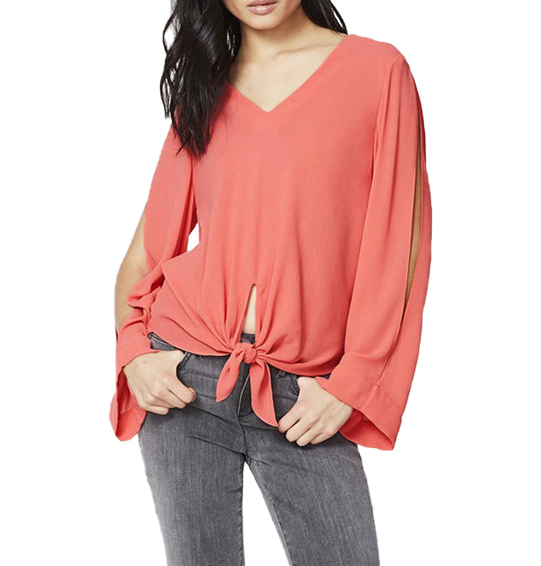 Yieldings Discount Clothing Store's Essentials Tie-Front Cold Shoulder Blouse by RACHEL Rachel Roy in Watermelon