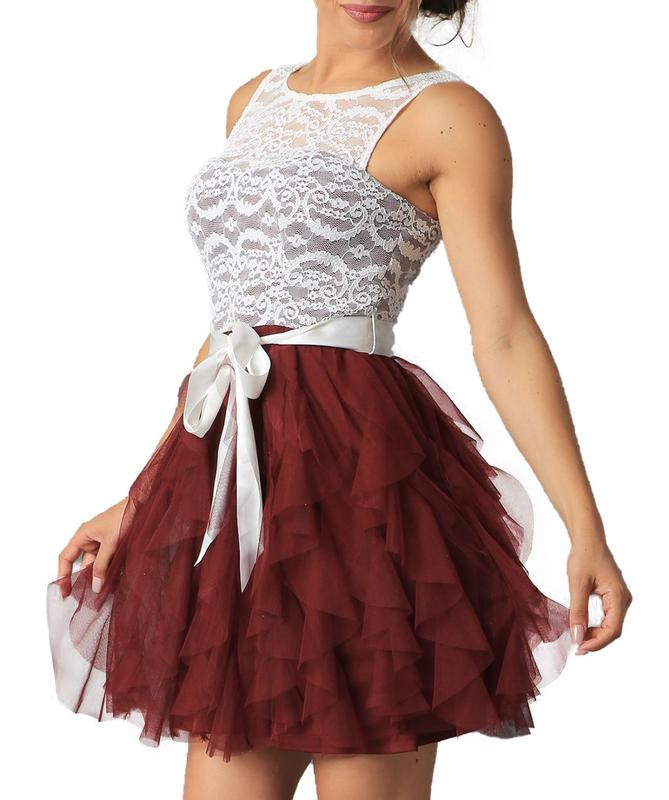 Yieldings Discount Clothing Store's Lace Ruffled Dress by Teeze Me in Burgundy