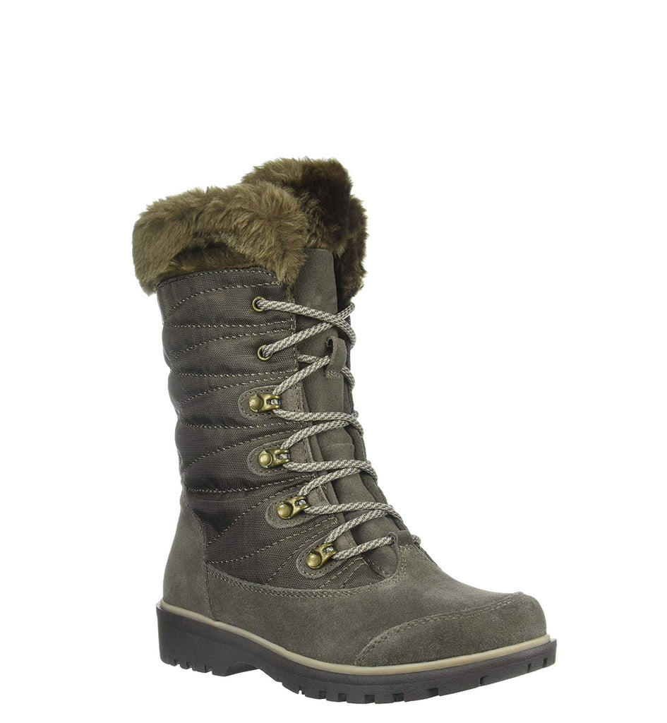 Yieldings Discount Shoes Store's Satin Cold-Weather Boots by Baretraps in Mud