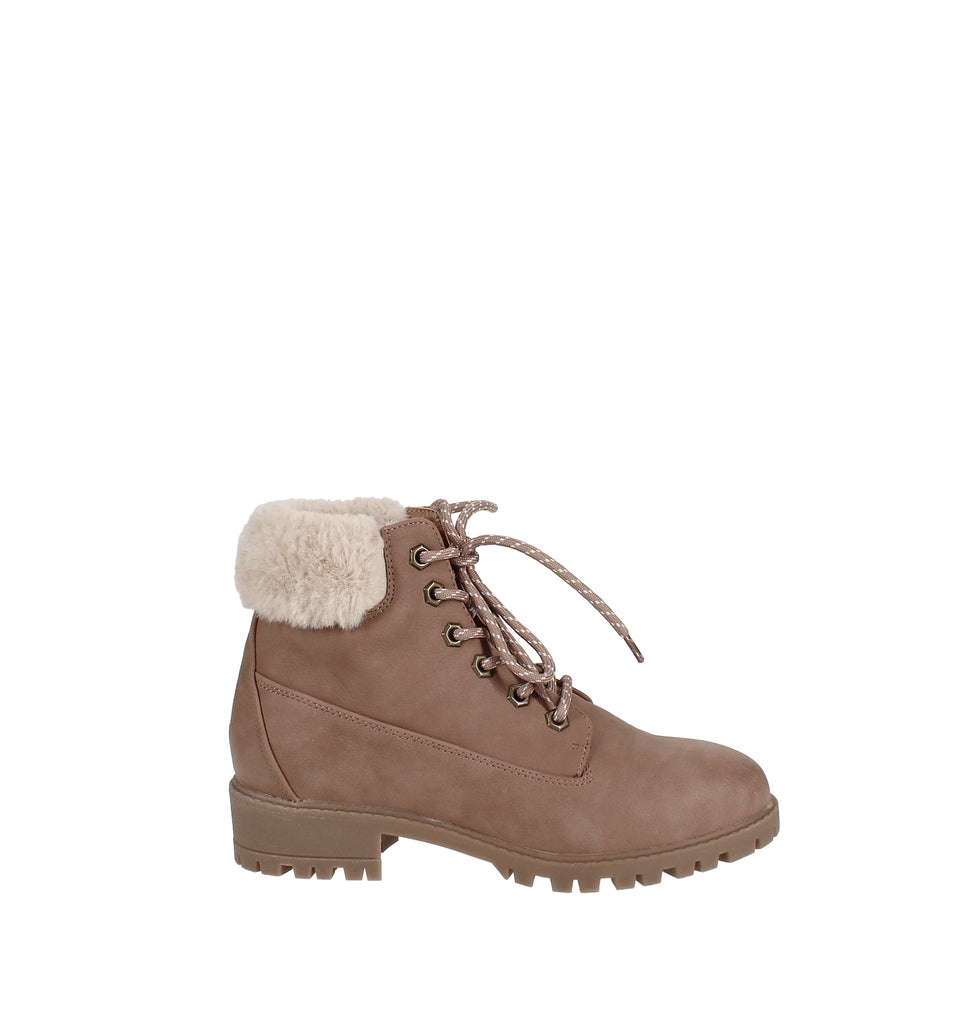Yieldings Discount Shoes Store's Frankie Faux-Fur Hiker Booties by Madden Girl in Blush