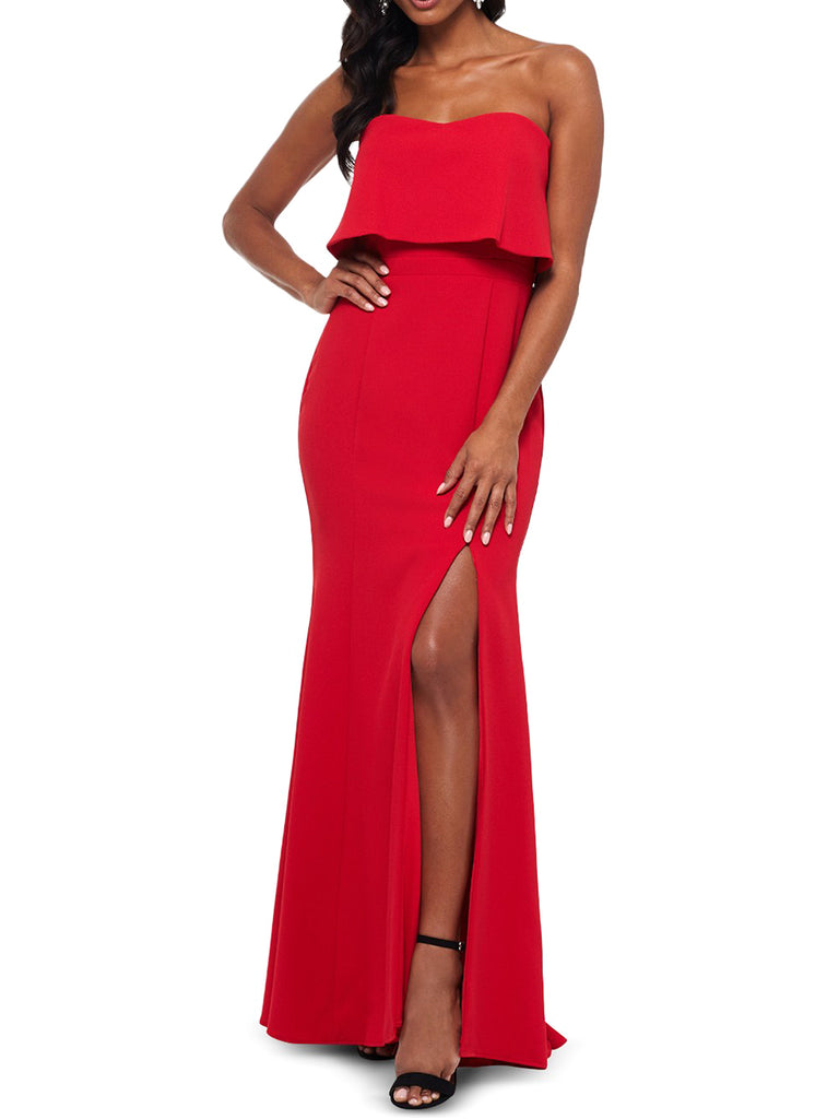 Yieldings Discount Clothing Store's Strapless Popover Evening Gown by Xscape in Red