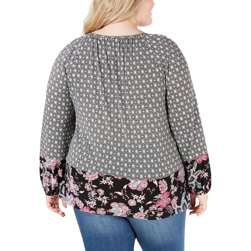Style & Co | Floral Keyhole Peasant Top