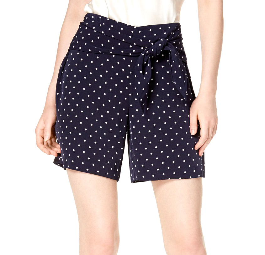 Yieldings Discount Clothing Store's Midnight Dots Polka Dot Tie Waist Shorts by Bar III in NB Favorite Dot
