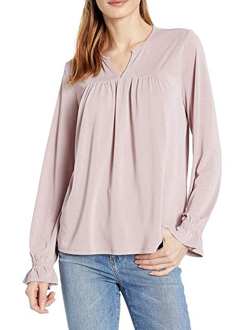 Yieldings Discount Clothing Store's Split-Neck Peasant Deauville Top by Lucky Brand in Light Purple