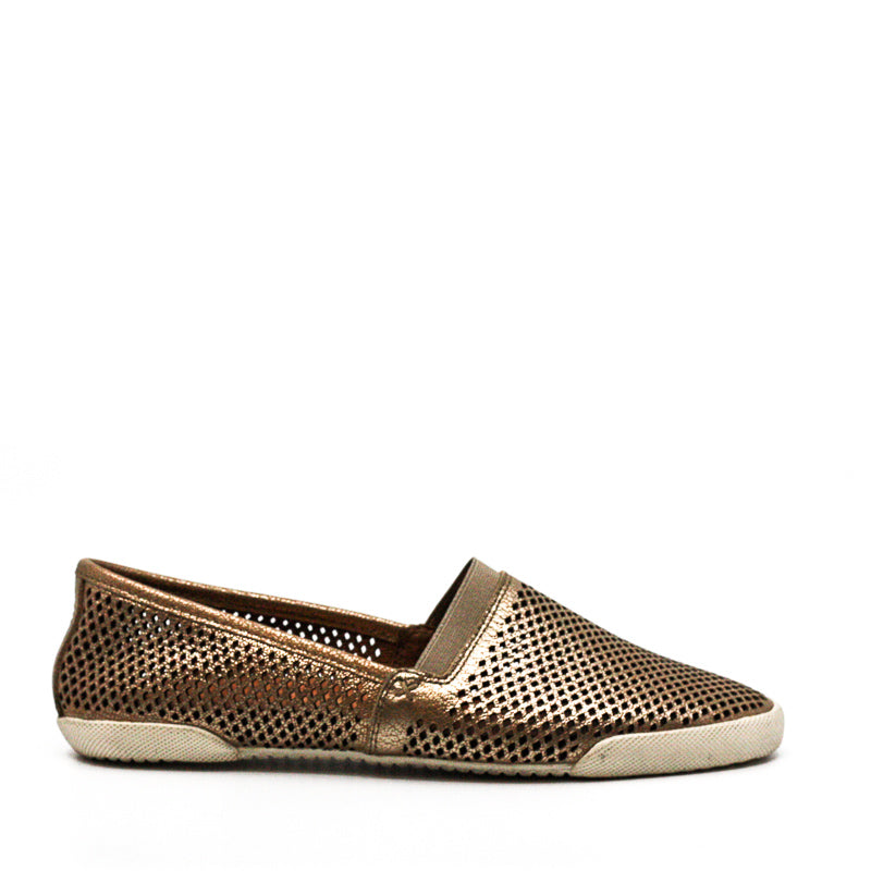 Yieldings Discount Shoes Store's Melanie Perforated Slip-On Flats by Frye in Gold