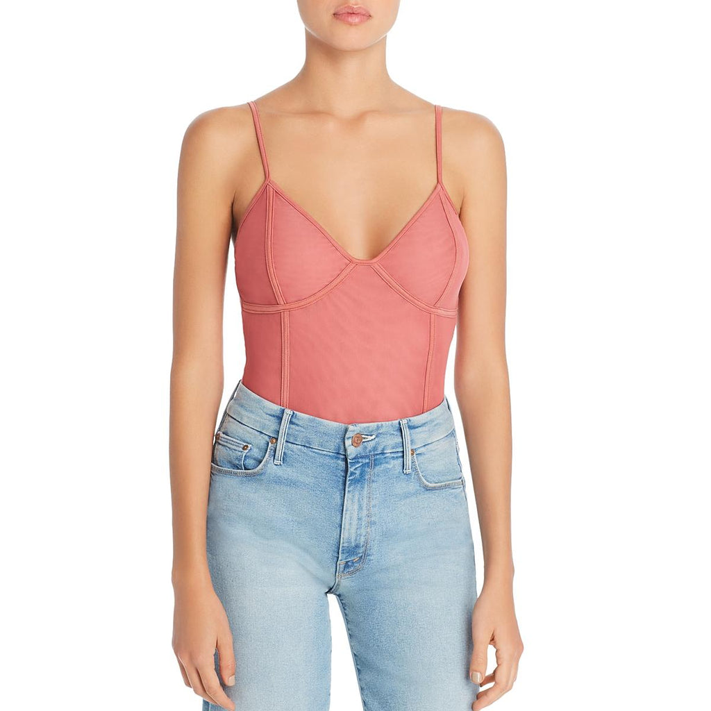 Yieldings Discount Clothing Store's Chevi Mesh Bodysuit by Tiger Mist in Rose