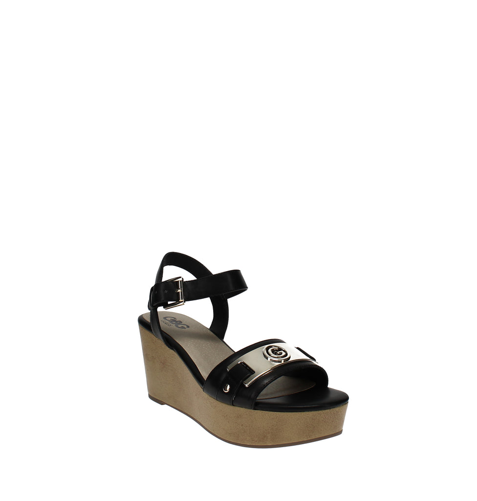 Yieldings Discount Shoes Store's Danna Platform Wedge Sandals by G By Guess in Black