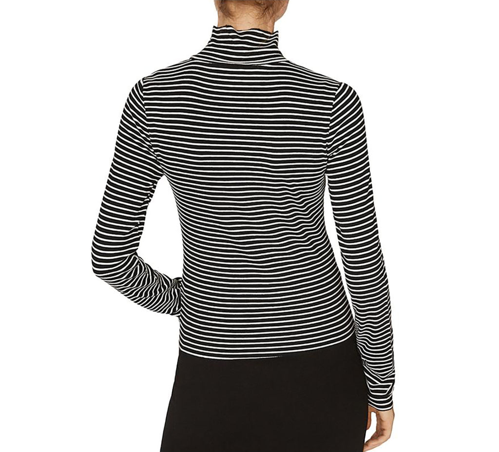 Yieldings Discount Clothing Store's Stripe Mock Neck Top by Sanctuary in Classic Stripe Black
