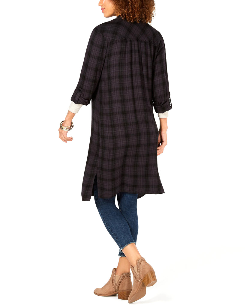 Yieldings Discount Clothing Store's Flower-Embroidered Plaid Duster Shirt by Style & Co in Hugo Plaid