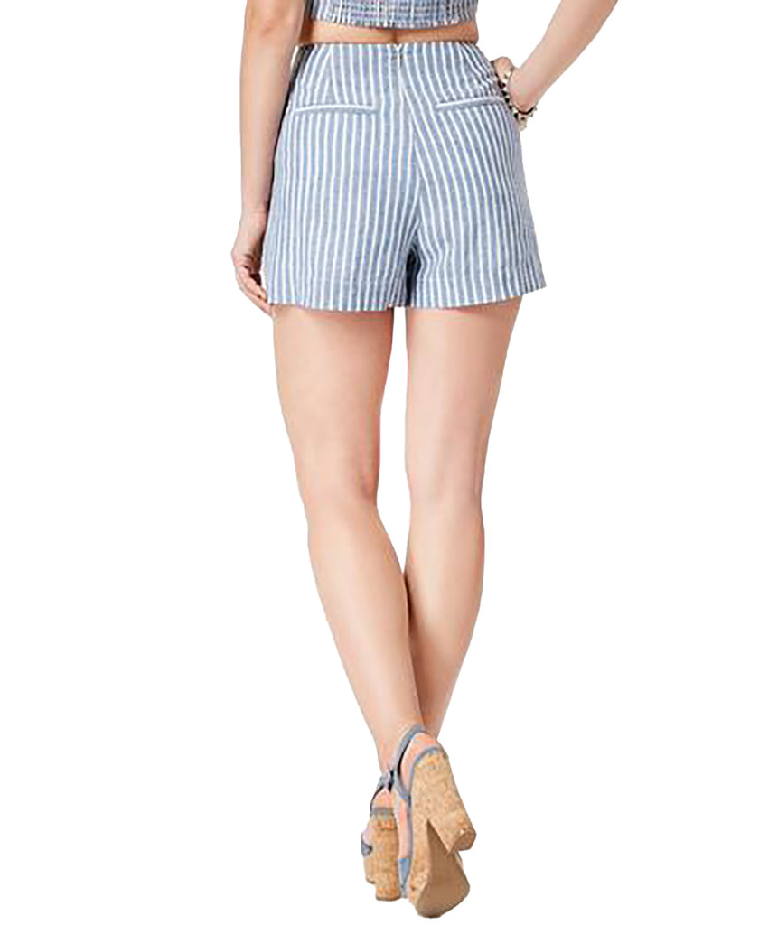 Yieldings Discount Clothing Store's Hermosa Lace-Up Striped Shorts by Guess in Bleached Blue Multi