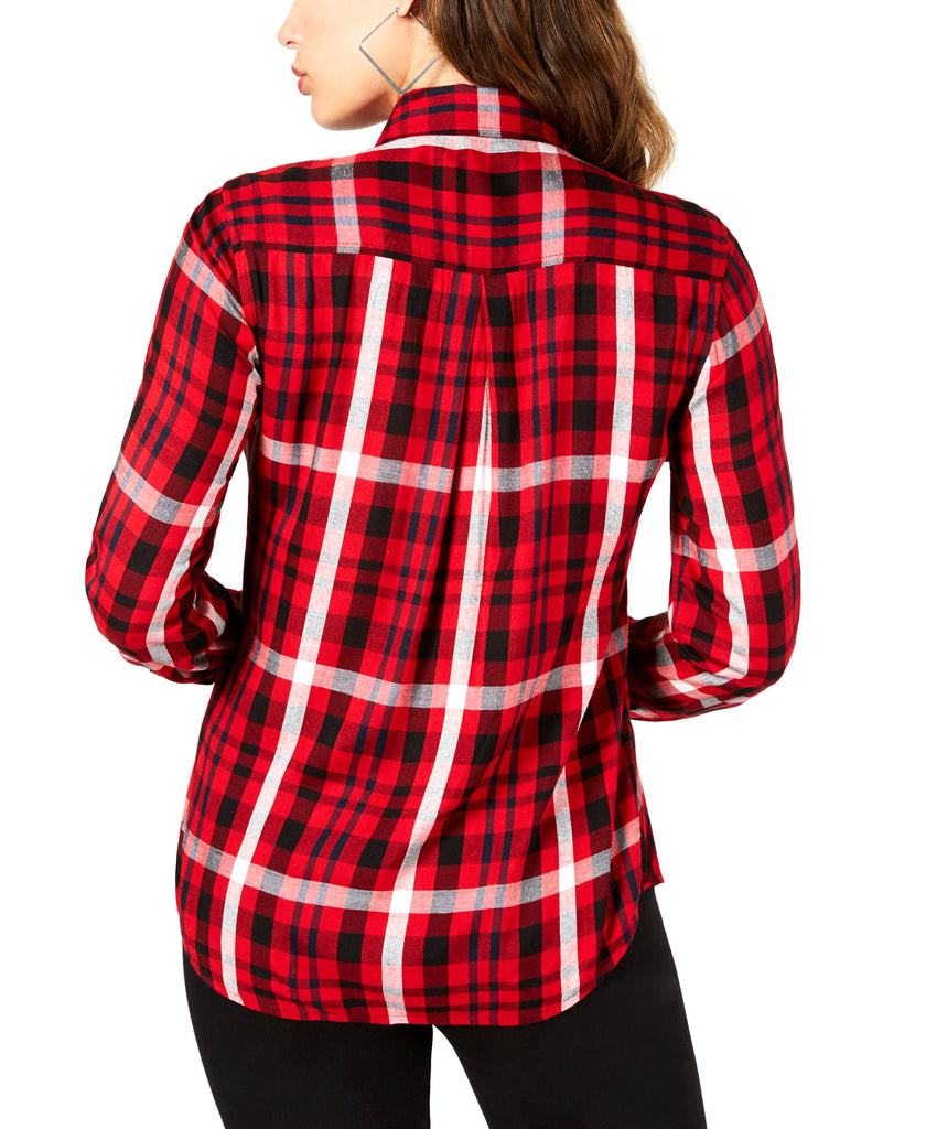 Yieldings Discount Clothing Store's Plaid Shirt by Guess in Sultry Red Multi