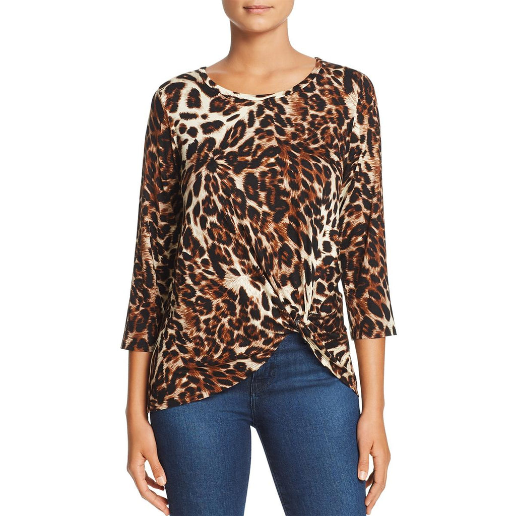 Yieldings Discount Clothing Store's Leopard-Print Twist-Front Top by A+A Collection in Safari Leopard