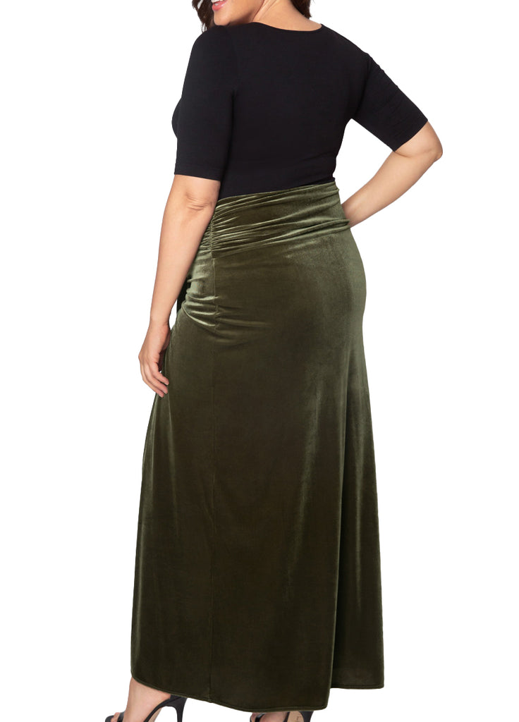 Yieldings Discount Clothing Store's Velvet Opulence Maxi Skirt by Kiyonna in Green