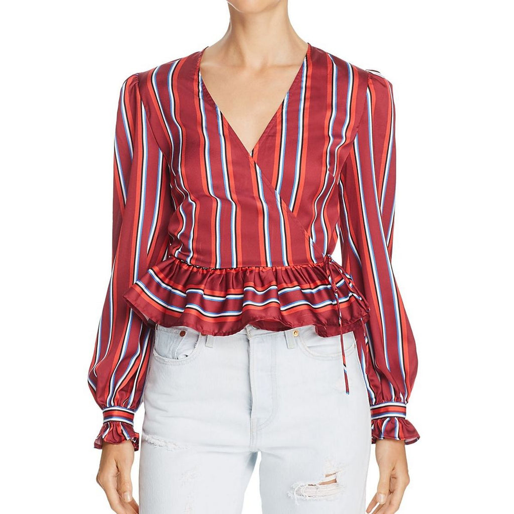 Yieldings Discount Clothing Store's Striped Wrap Top by The Fifth Label in Wine Red