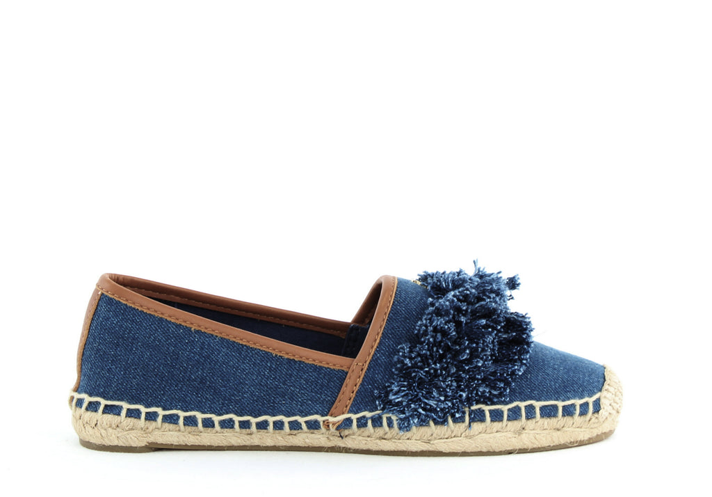 Yieldings Discount Shoes Store's Shaw Denim Fringe Espadrille Flats by Tory Burch in Blue Denim/Royal Tan