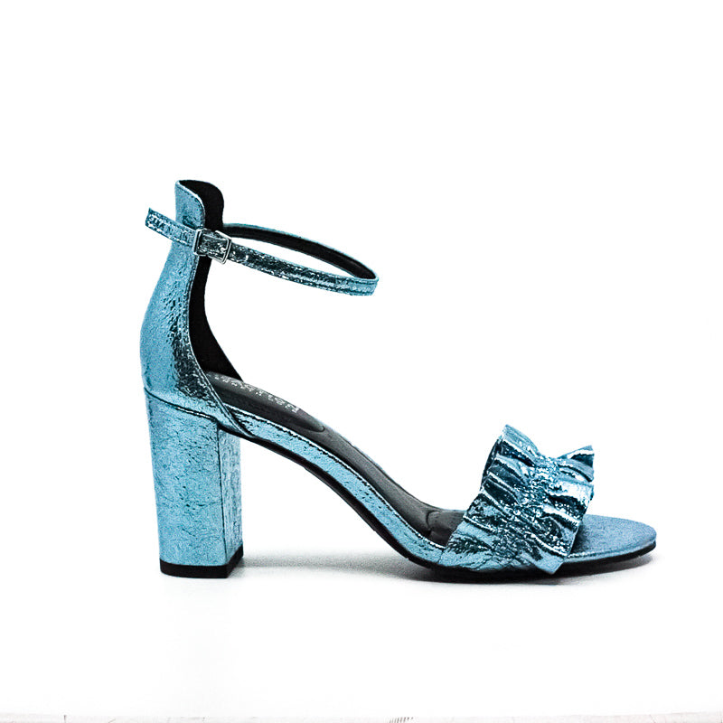 Yieldings Discount Shoes Store's Rise Ruffle Block Heel Sandals by Reaction Kenneth Cole in Storm Blue