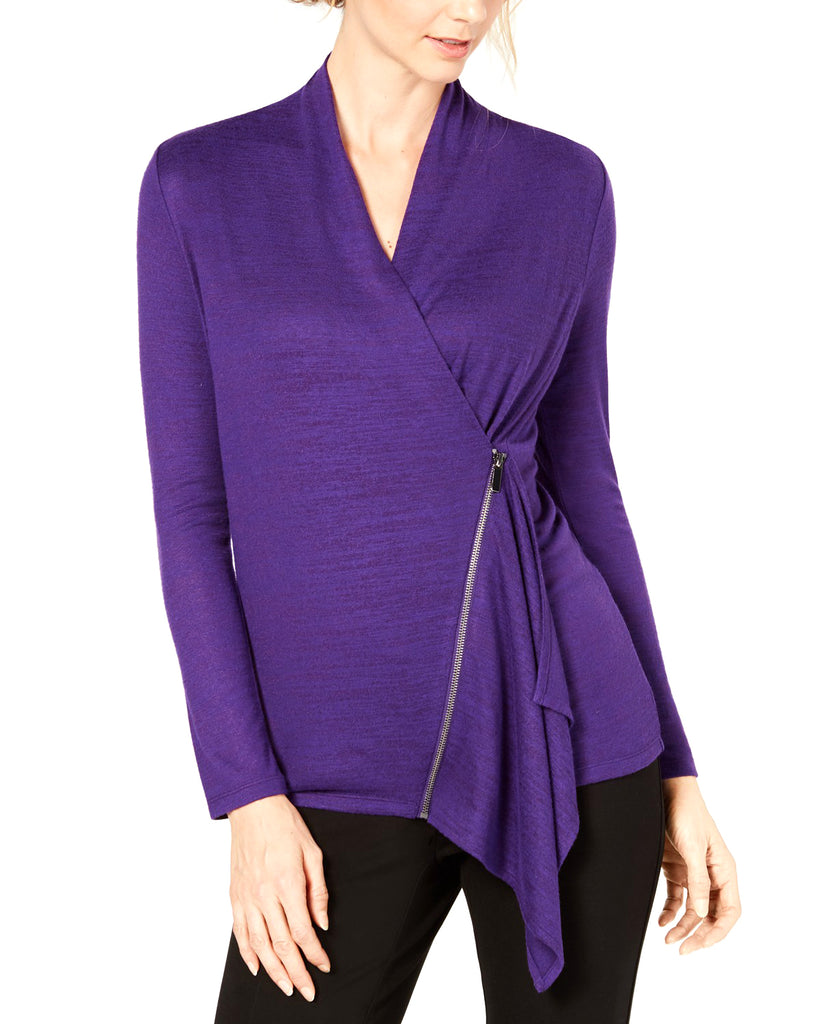 Yieldings Discount Clothing Store's Asymmetrical Zip Top by Alfani in Purple Geranium