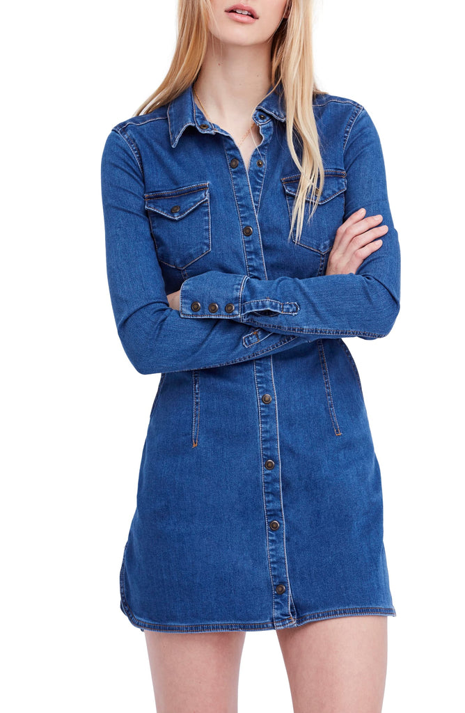 Yieldings Discount Clothing Store's Denim Shirt Dress by Free People in Blue