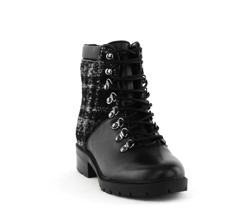 Yieldings Discount Shoes Store's Lanzia 3 Lace Up Boots by Marc Fisher in Black Multi Leather
