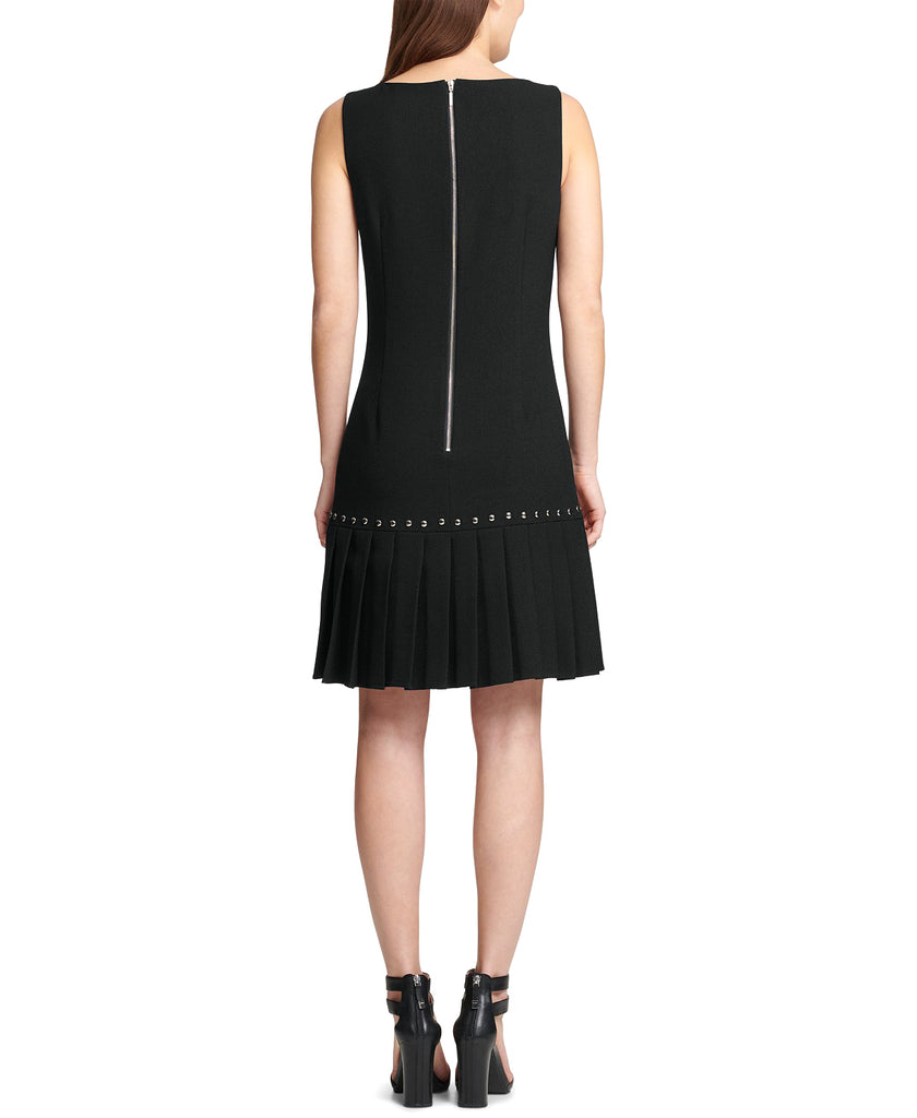 Yieldings Discount Clothing Store's Drop-Waist Pleated Dress by DKNY in Black
