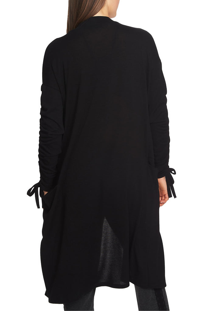 Yieldings Discount Clothing Store's Cozy Ruched Sleeve Cardigan by 1.State in Rich Black