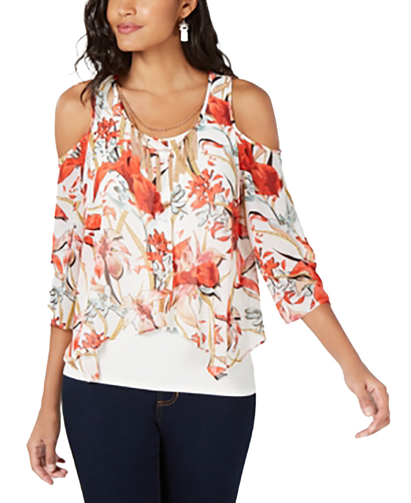 Yieldings Discount Clothing Store's Cold-Shoulder Flutter-Overlay Necklace Top by Thalia Sodi in White Combo